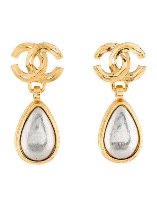 Chanel Vintage Clip-On Dangle Earrings Silver