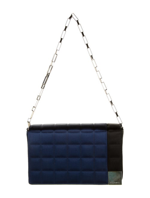 Chanel Satin Square Quilt Flap Bag Blue - image 1
