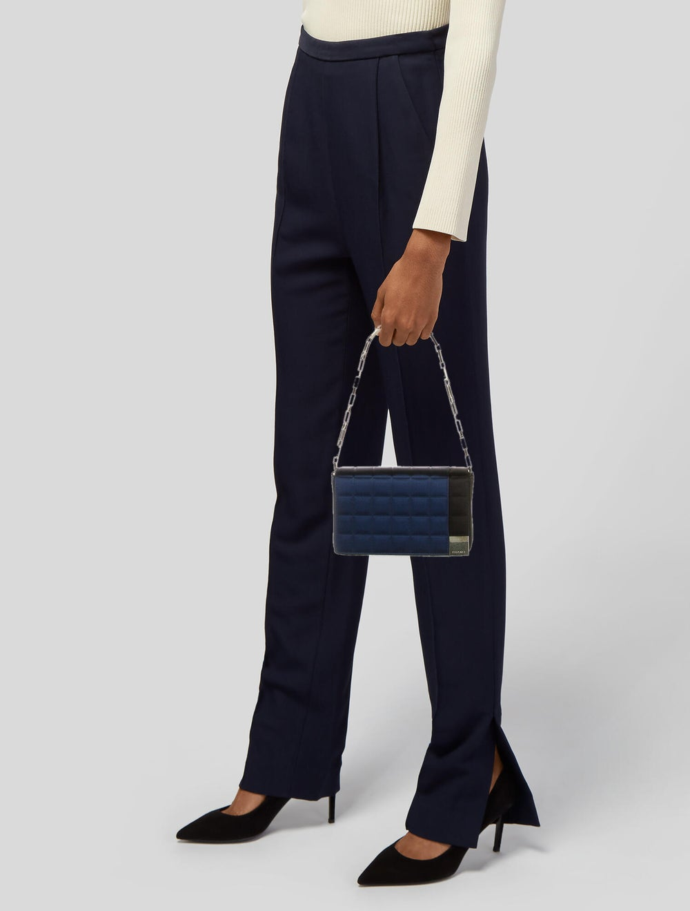 Chanel Satin Square Quilt Flap Bag Blue - image 2