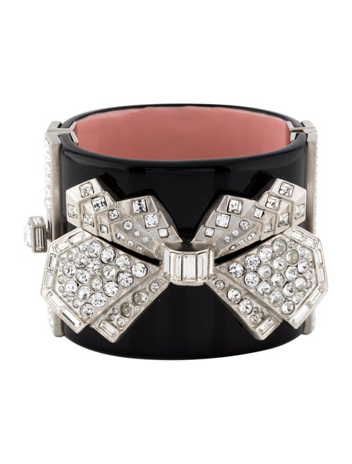 leather pink bow with metallic and strass