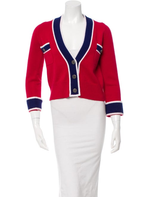 Chanel Colorblock Cropped Cardigan Red