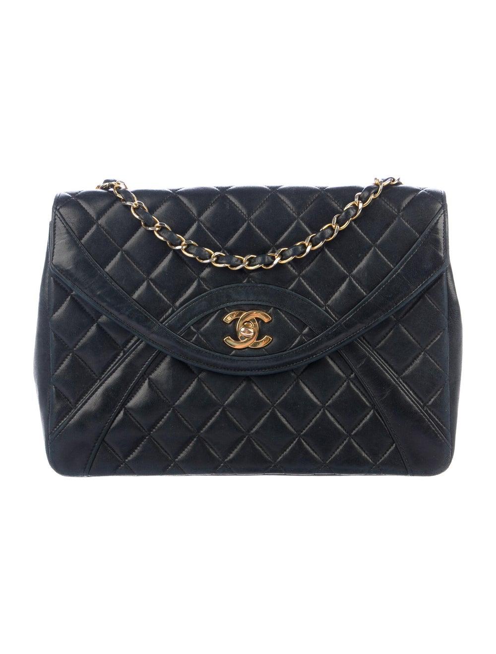 Chanel Vintage Half Moon Flap Bag Blue - image 1