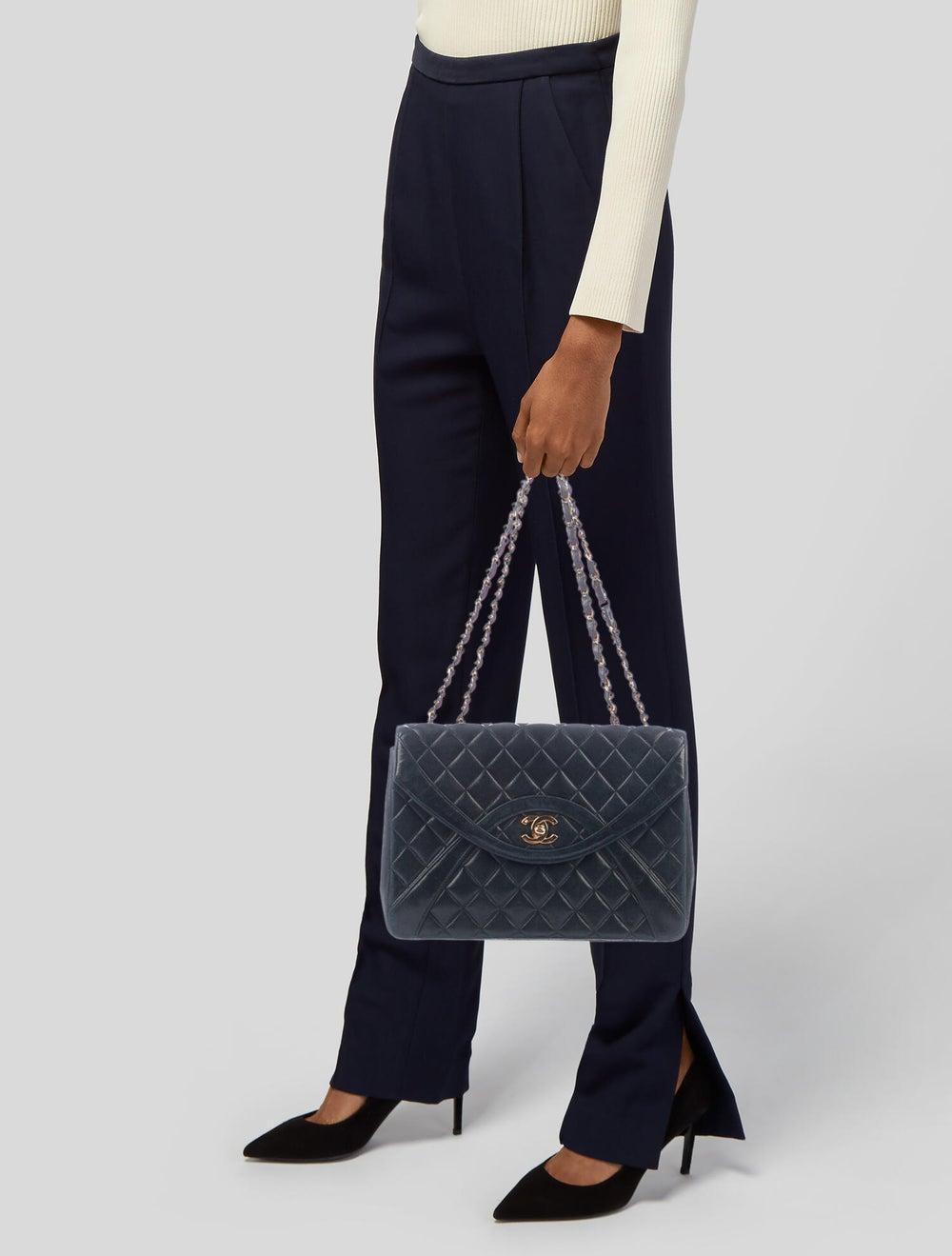 Chanel Vintage Half Moon Flap Bag Blue - image 2
