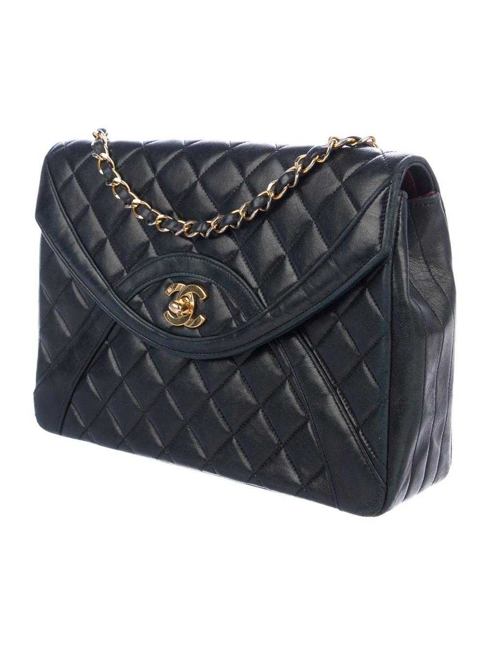 Chanel Vintage Half Moon Flap Bag Blue - image 3