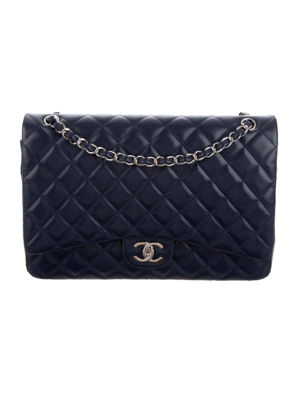 Chanel Classic Maxi Double Flap Bag Blue - image 1