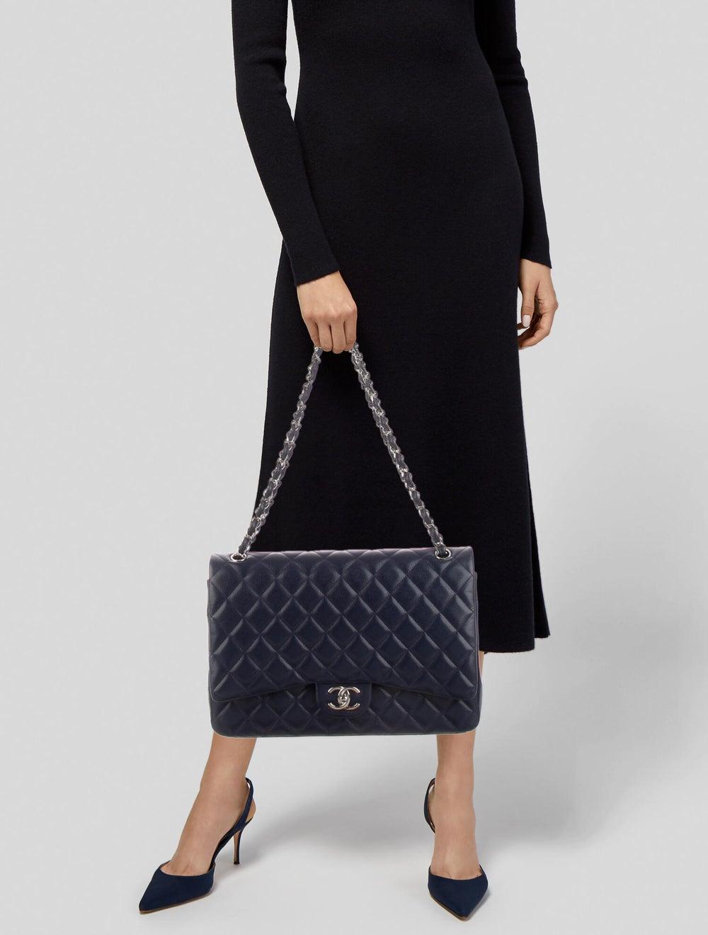 Chanel Classic Maxi Double Flap Bag Blue - image 2