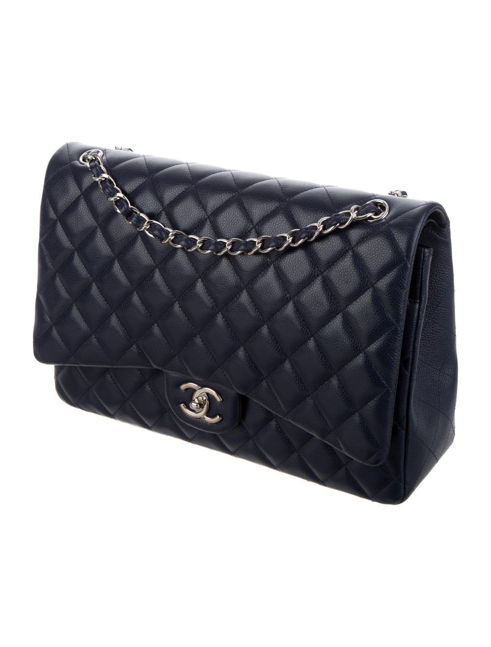Chanel Classic Maxi Double Flap Bag Blue - image 3