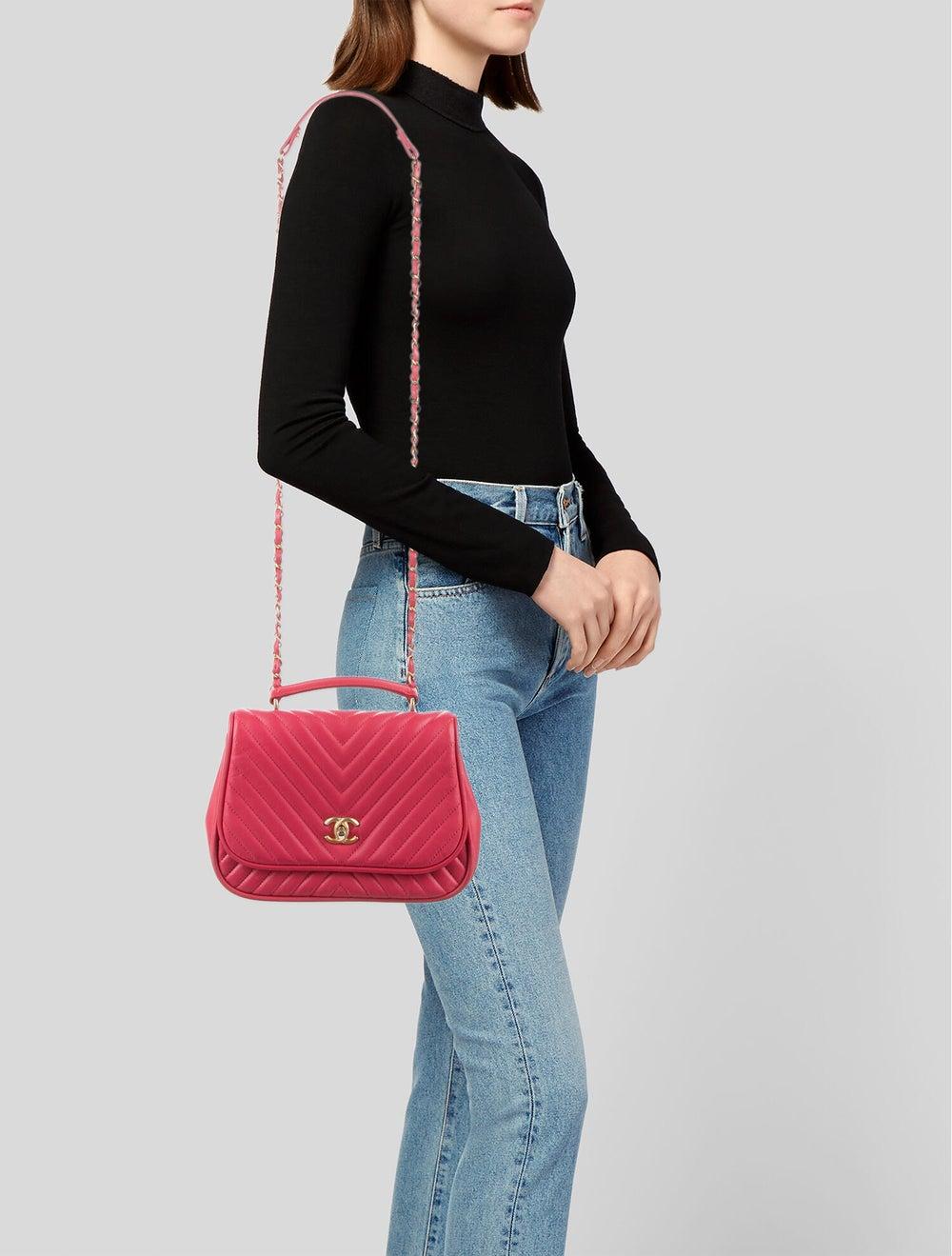 Chanel Reversed Chevron Bag Pink - image 2