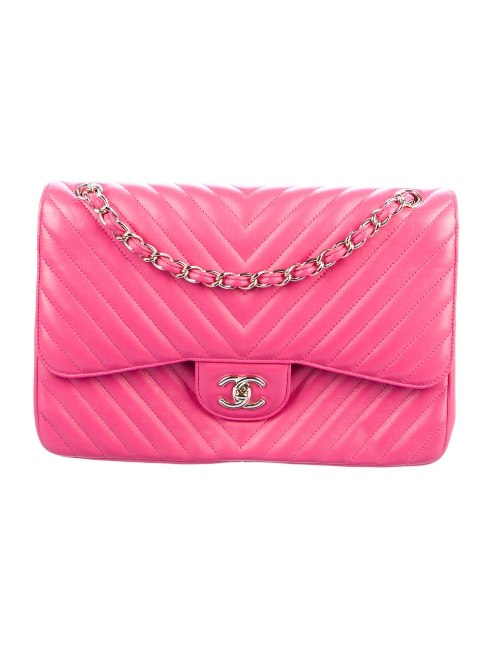 Chanel Jumbo Chevron Double Flap Bag Pink - image 1