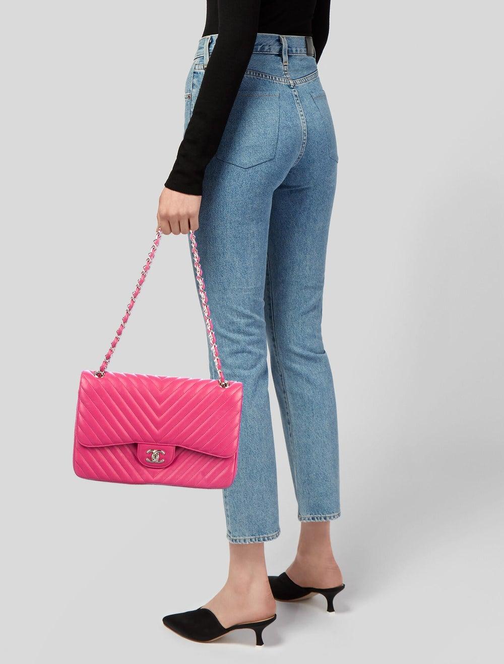 Chanel Jumbo Chevron Double Flap Bag Pink - image 2