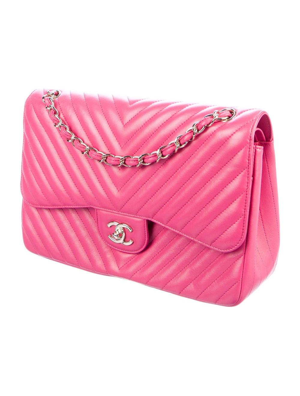Chanel Jumbo Chevron Double Flap Bag Pink - image 3