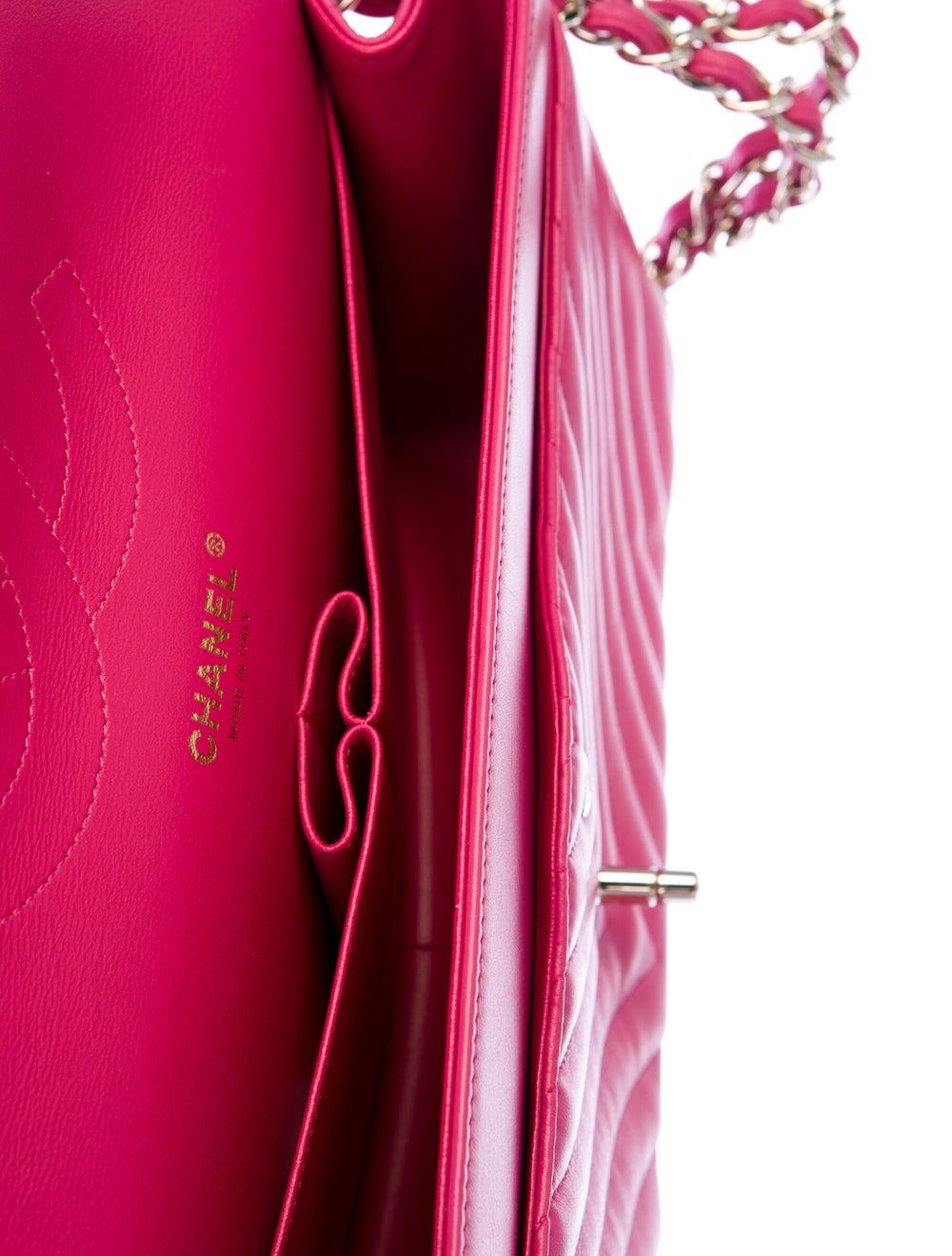 Chanel Jumbo Chevron Double Flap Bag Pink - image 5