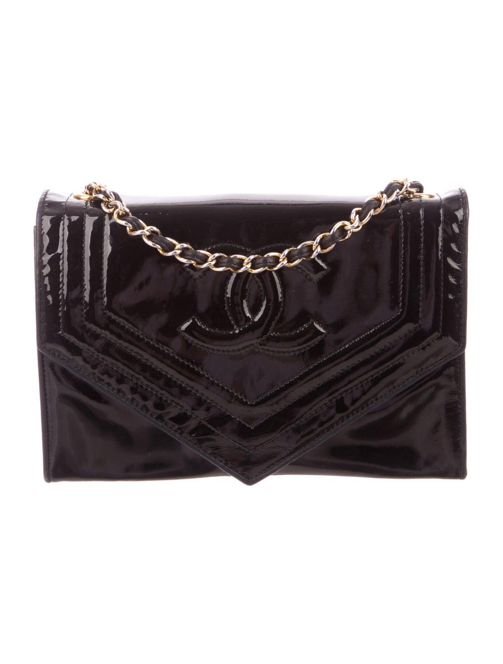 Chanel Vintage Patent CC Flap Bag Blue - image 1