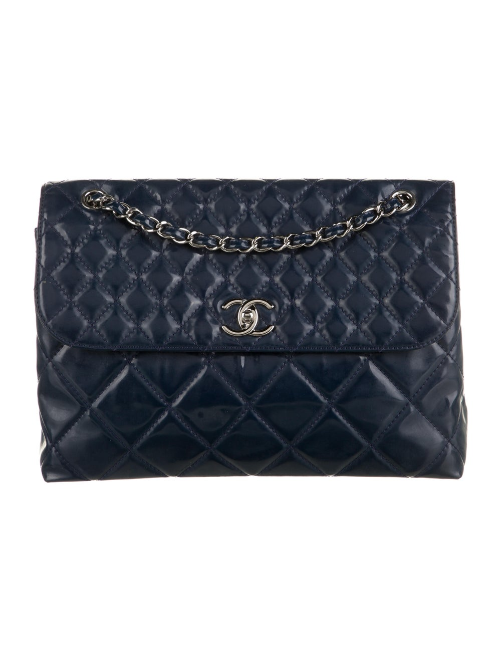 Chanel In The Business Patent Flap Bag Blue - image 1