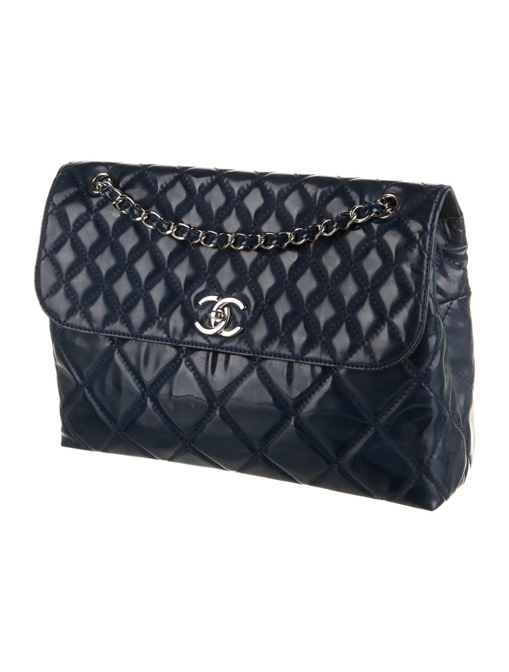 Chanel In The Business Patent Flap Bag Blue - image 3