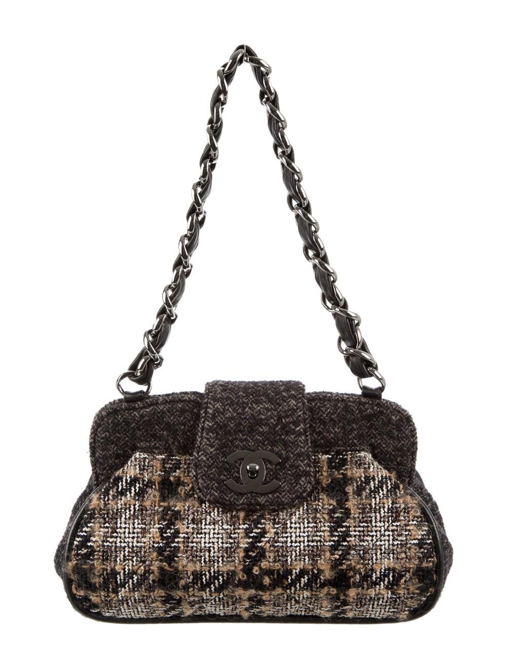 Chanel Tweed Frame Bag Brown - image 1