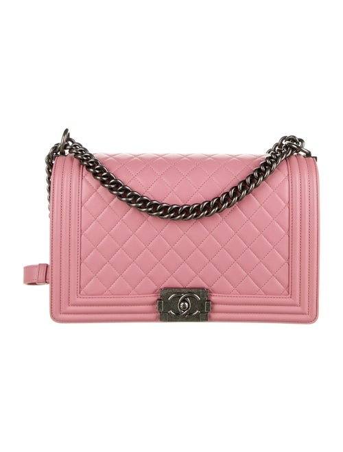 Chanel Large Quilted Boy Bag Pink - image 1
