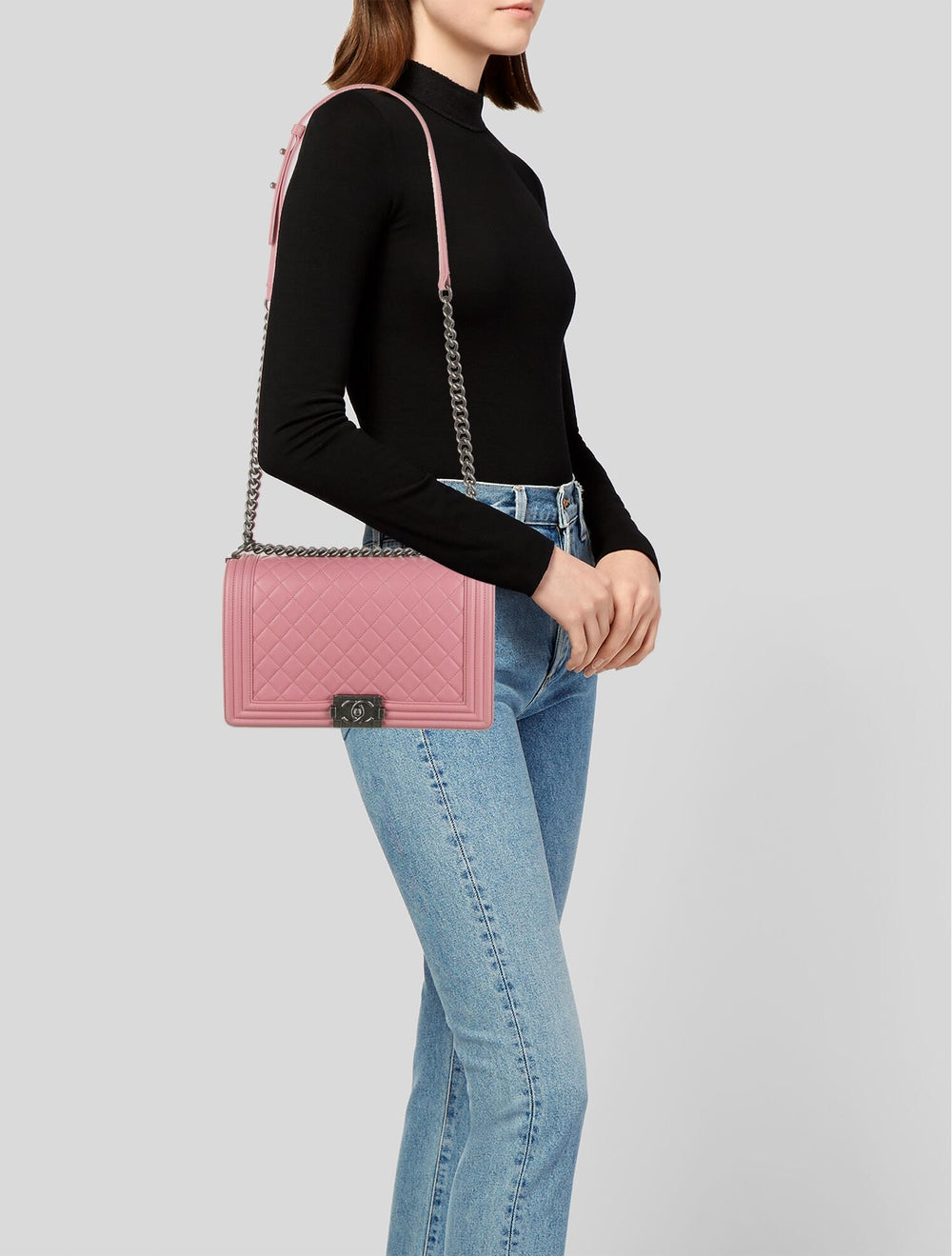 Chanel Large Quilted Boy Bag Pink - image 2