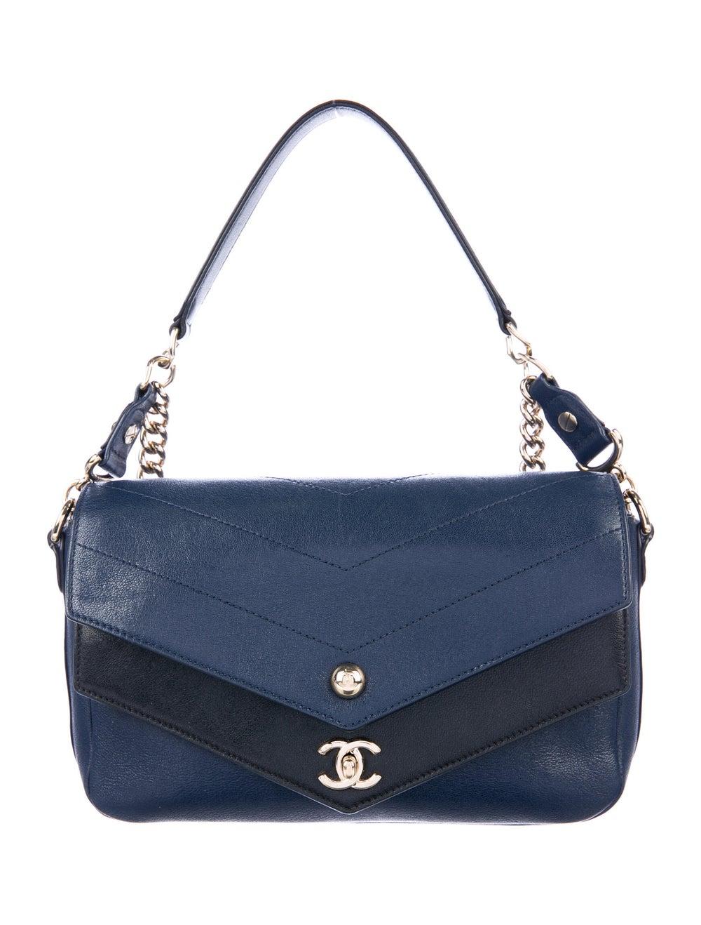Chanel Paris-Hamburg Double Chevron Flap Bag Blue - image 1