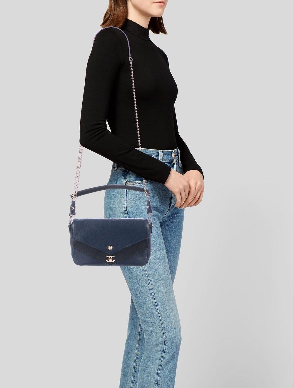 Chanel Paris-Hamburg Double Chevron Flap Bag Blue - image 2