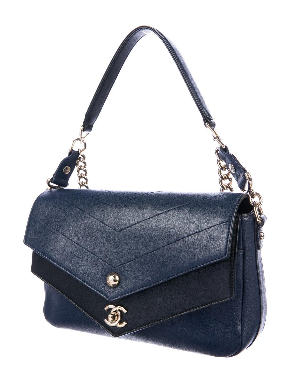 Chanel Paris-Hamburg Double Chevron Flap Bag Blue - image 3