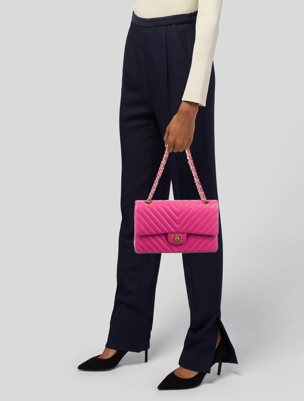Chanel Chevron Medium Double Flap Bag Pink - image 2