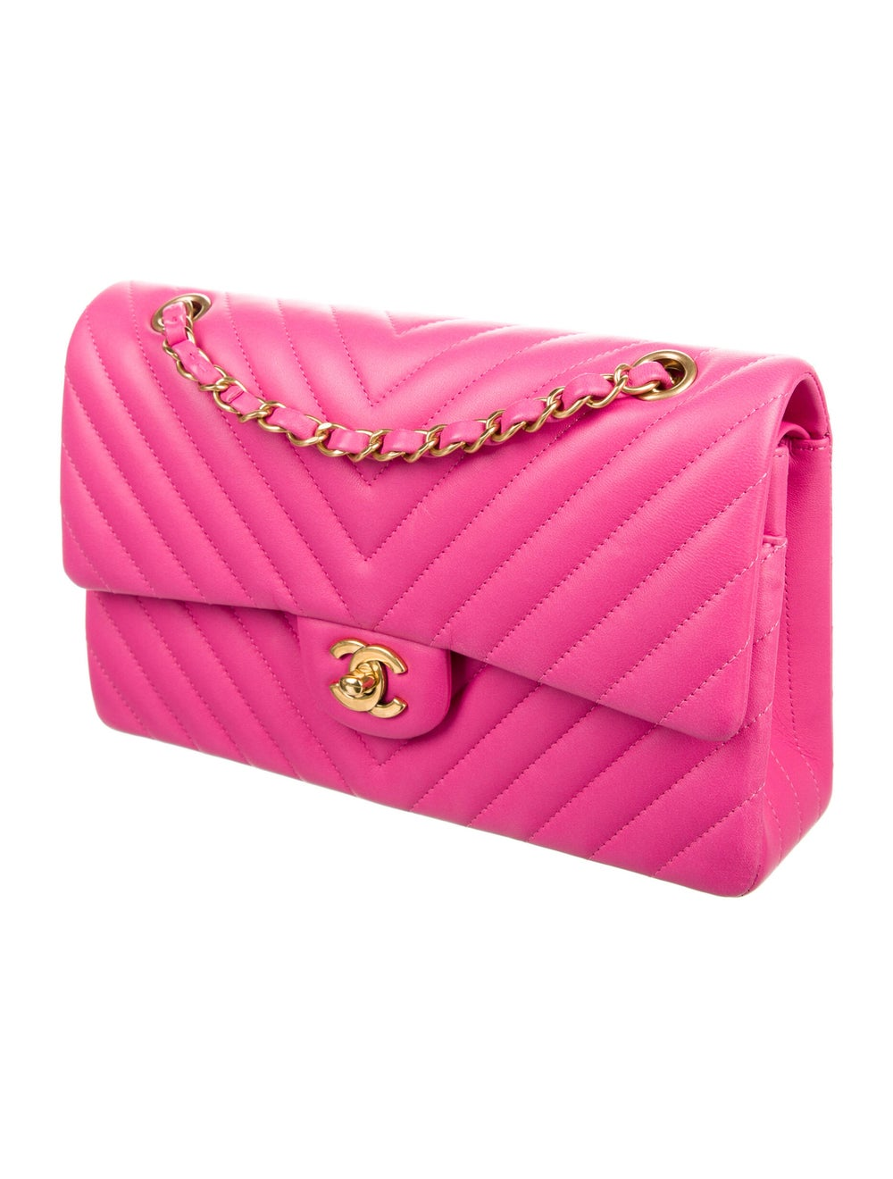 Chanel Chevron Medium Double Flap Bag Pink - image 3