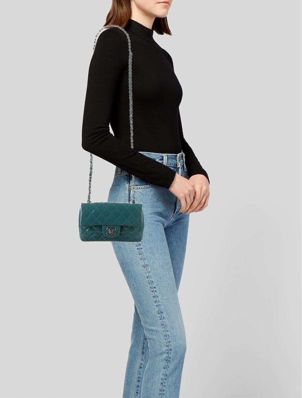 Chanel Classic Rectangular Mini Flap Bag Blue - image 2
