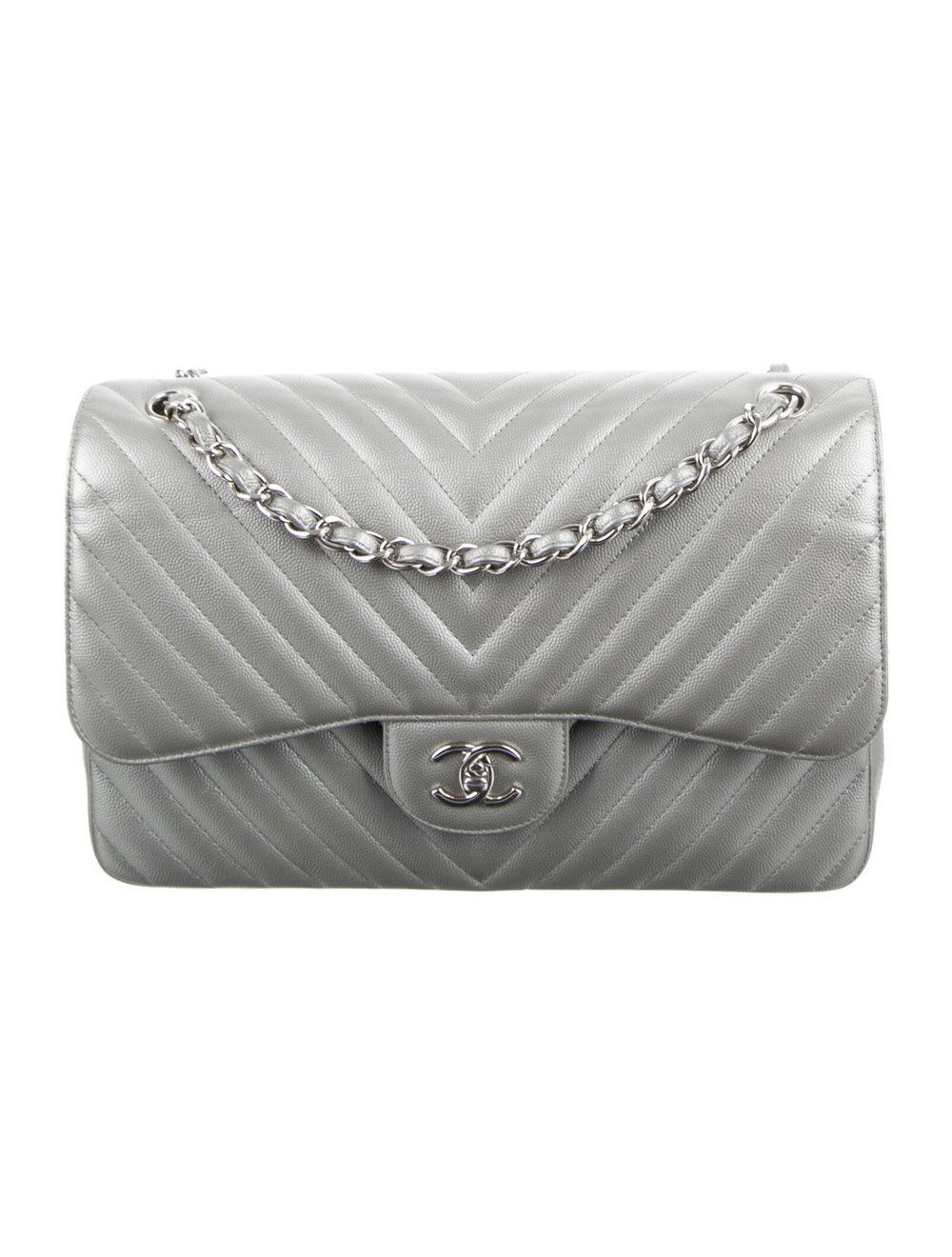 Chanel Classic Jumbo Chevron Double Flap Bag Meta… - image 1