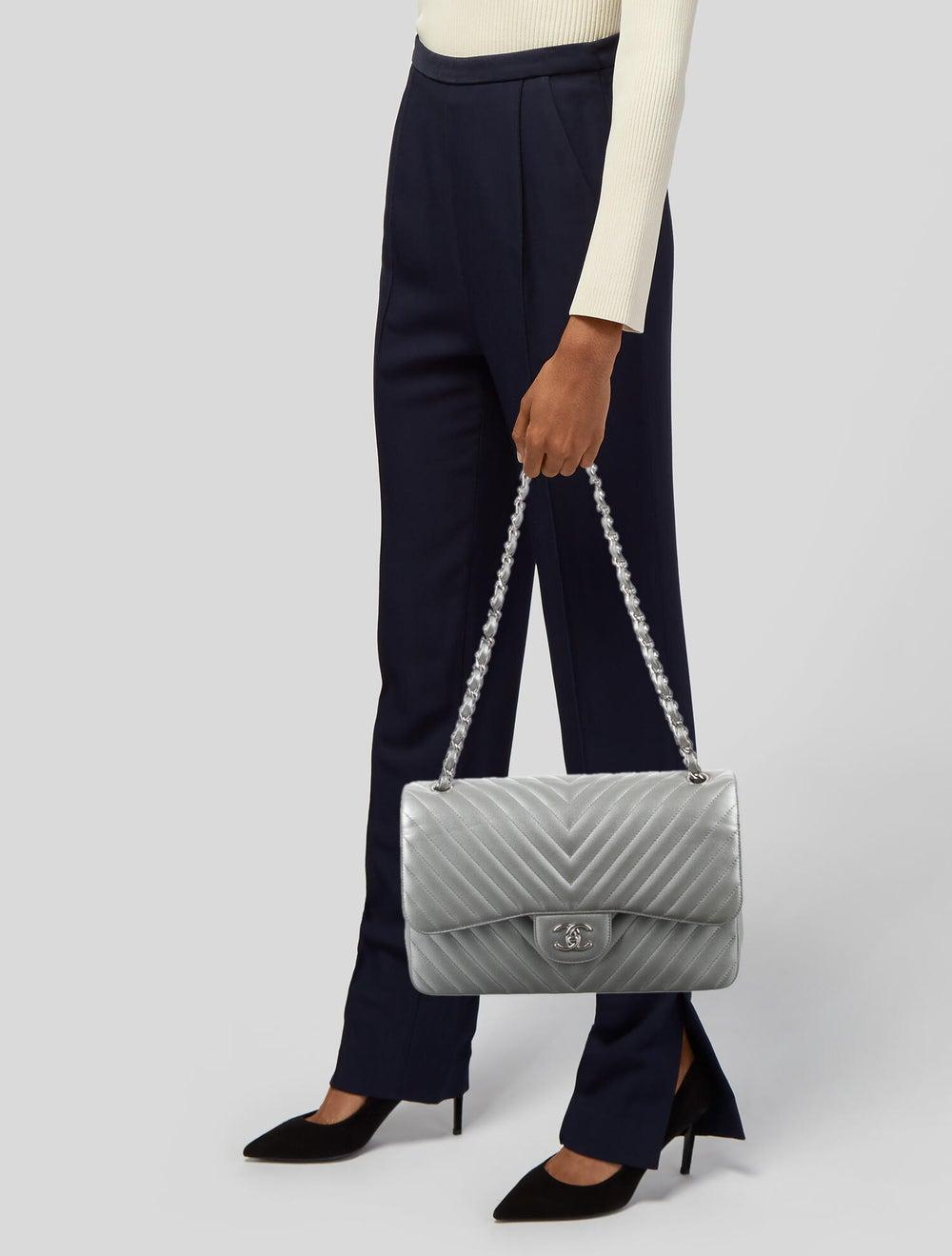 Chanel Classic Jumbo Chevron Double Flap Bag Meta… - image 2