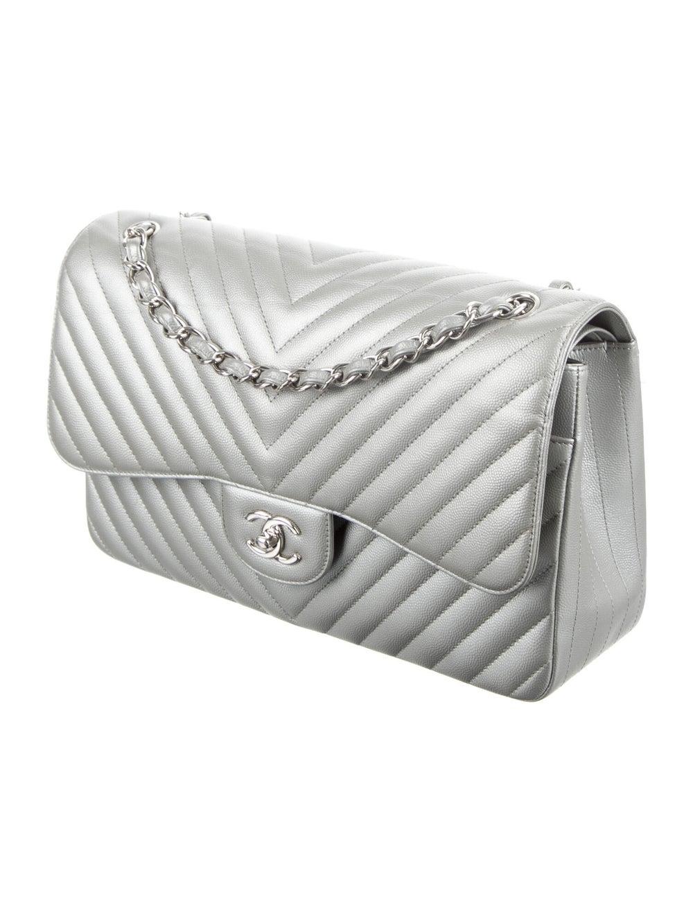 Chanel Classic Jumbo Chevron Double Flap Bag Meta… - image 3