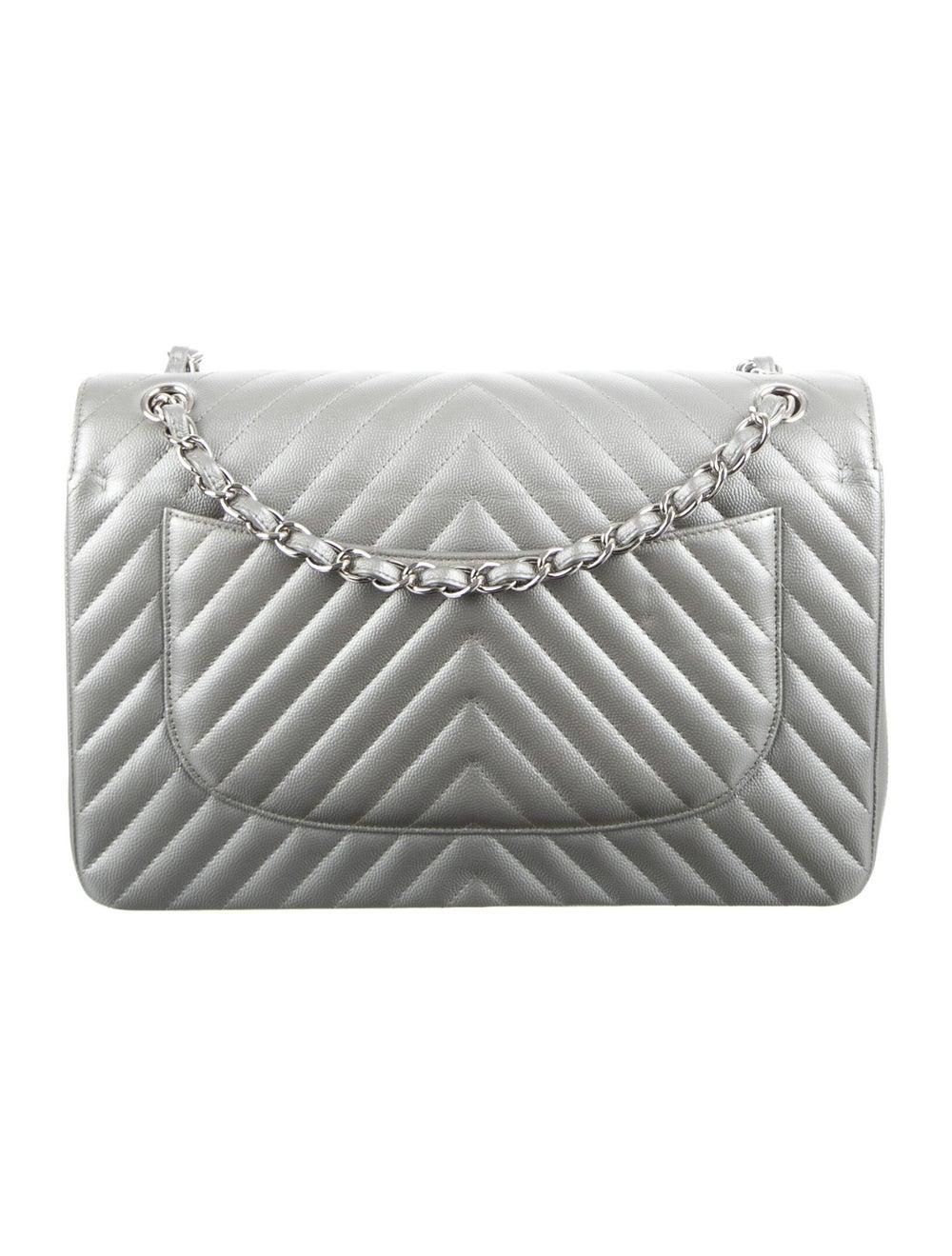 Chanel Classic Jumbo Chevron Double Flap Bag Meta… - image 4
