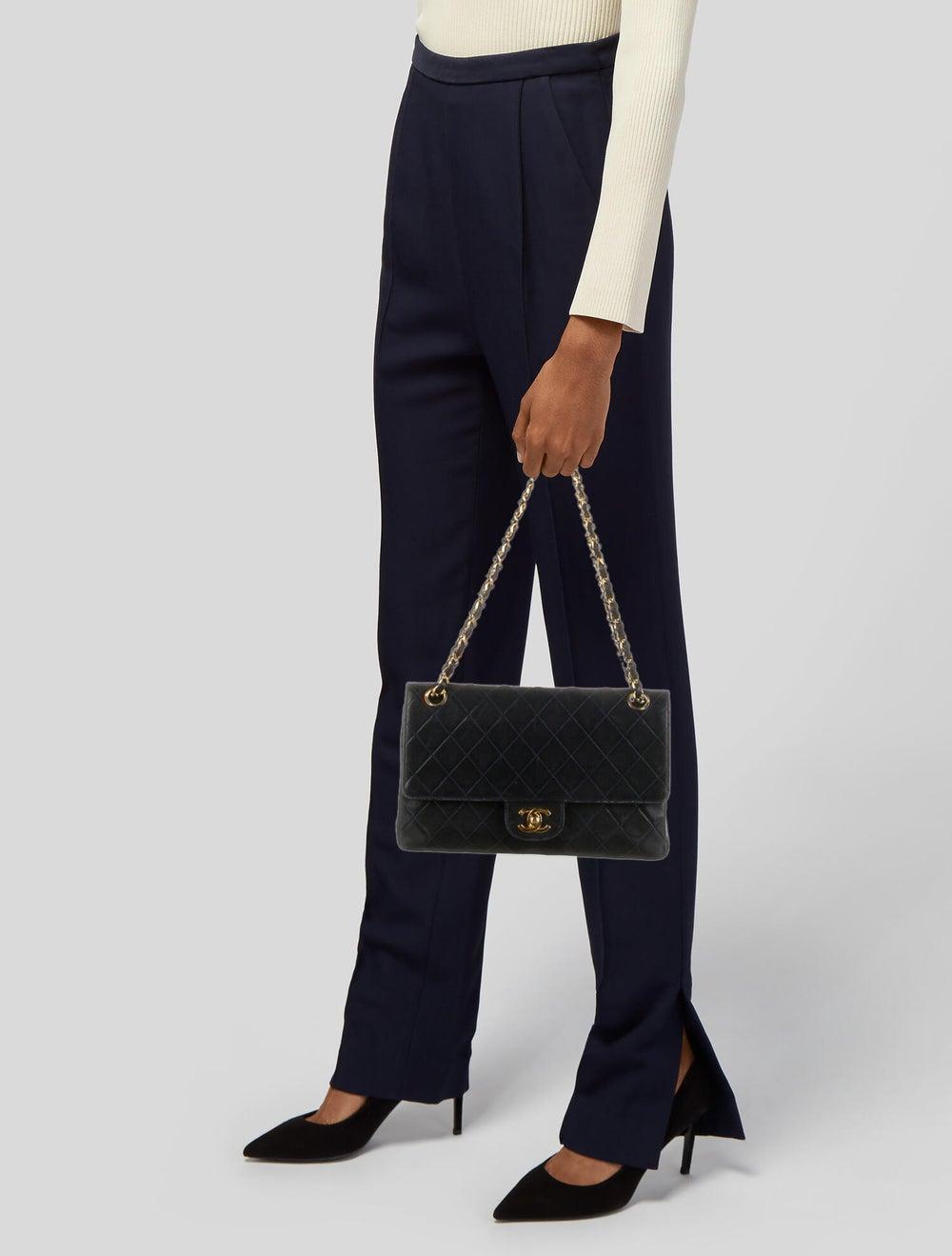 Chanel Vintage Classic Medium Double Flap Bag Blue - image 2