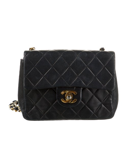 Chanel Vintage Classic Mini Square Flap Bag Blue - image 1