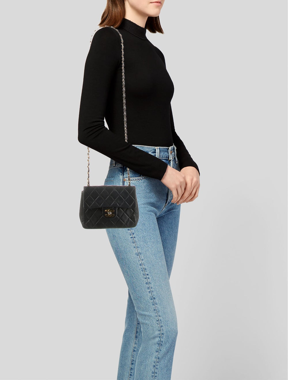 Chanel Vintage Classic Mini Square Flap Bag Blue - image 2