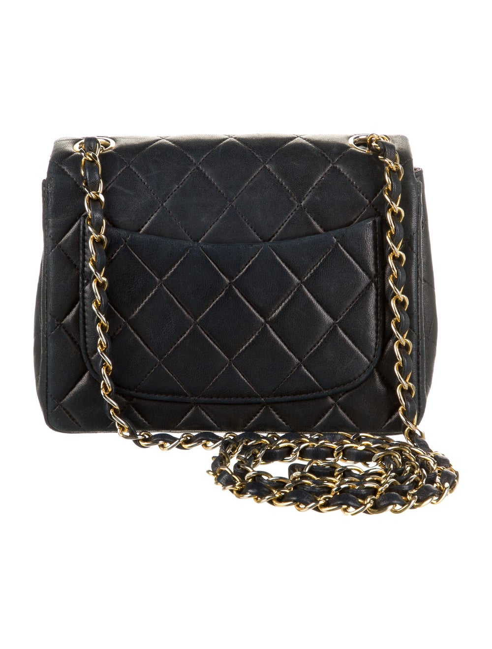 Chanel Vintage Classic Mini Square Flap Bag Blue - image 4