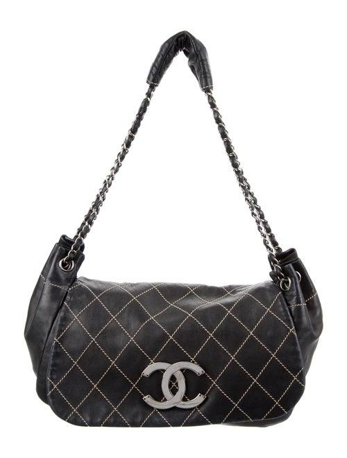 Chanel Surpique Accordion Flap Bag Blue - image 1