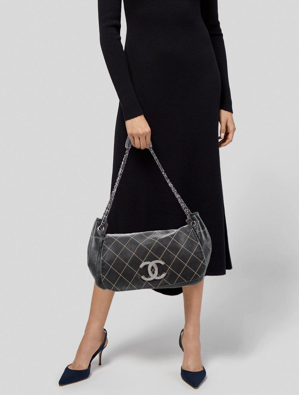 Chanel Surpique Accordion Flap Bag Blue - image 2