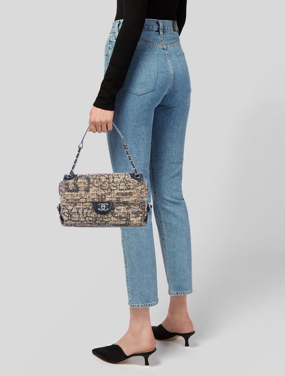 Chanel Tweed Shoulder Bag Silver - image 2