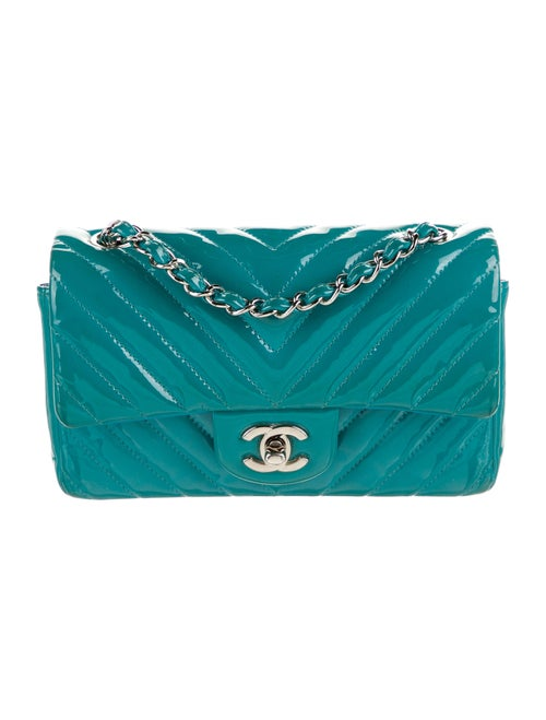 Chanel Classic New Mini Chevron Flap Bag Blue - image 1