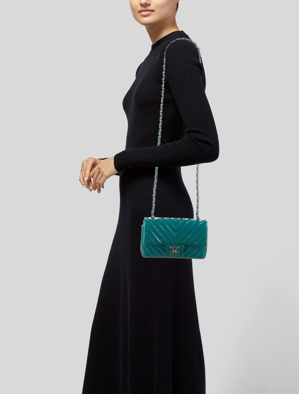 Chanel Classic New Mini Chevron Flap Bag Blue - image 2