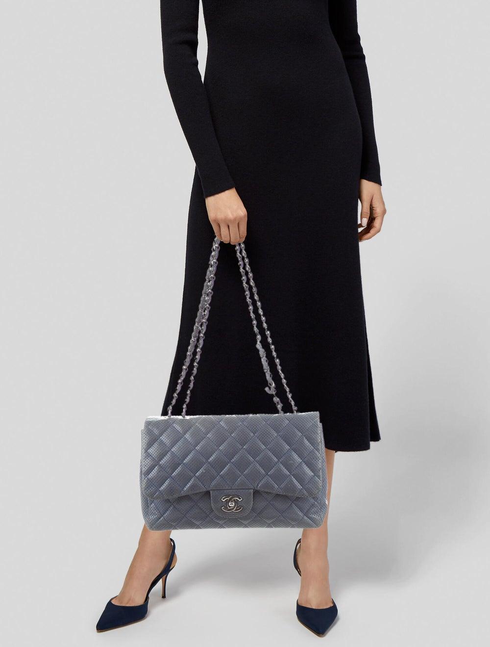 Chanel Classic Jumbo Single Flap Bag Blue - image 2