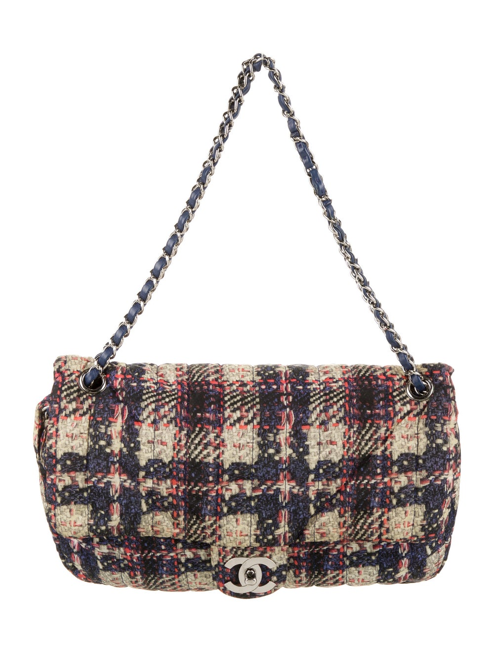 Chanel Medium Nylon Tweed Flap Bag Blue - image 1