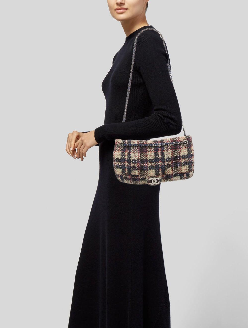 Chanel Medium Nylon Tweed Flap Bag Blue - image 2