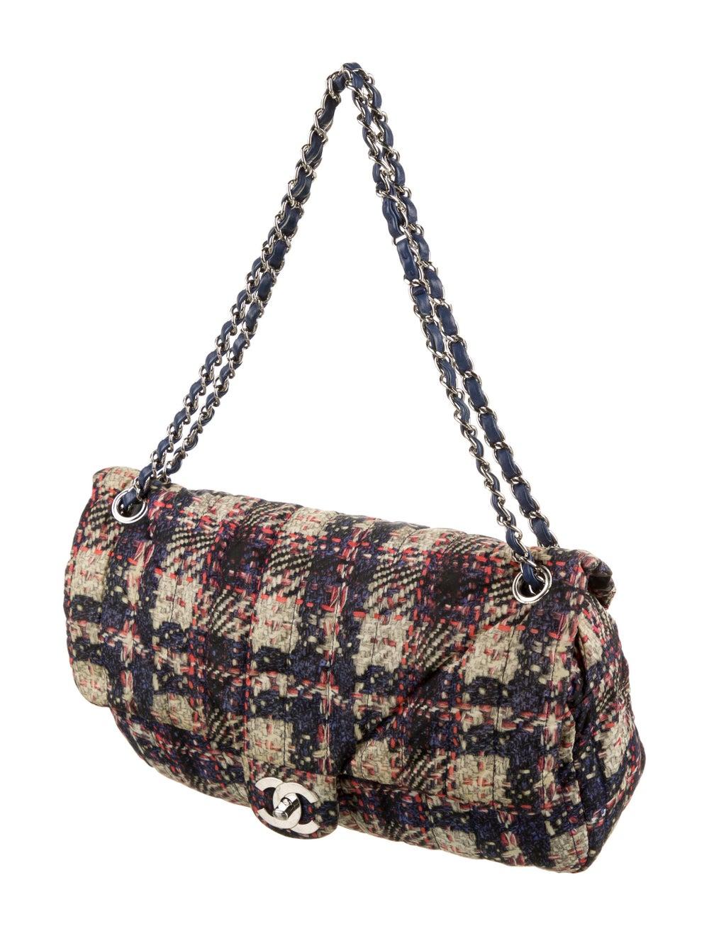 Chanel Medium Nylon Tweed Flap Bag Blue - image 3