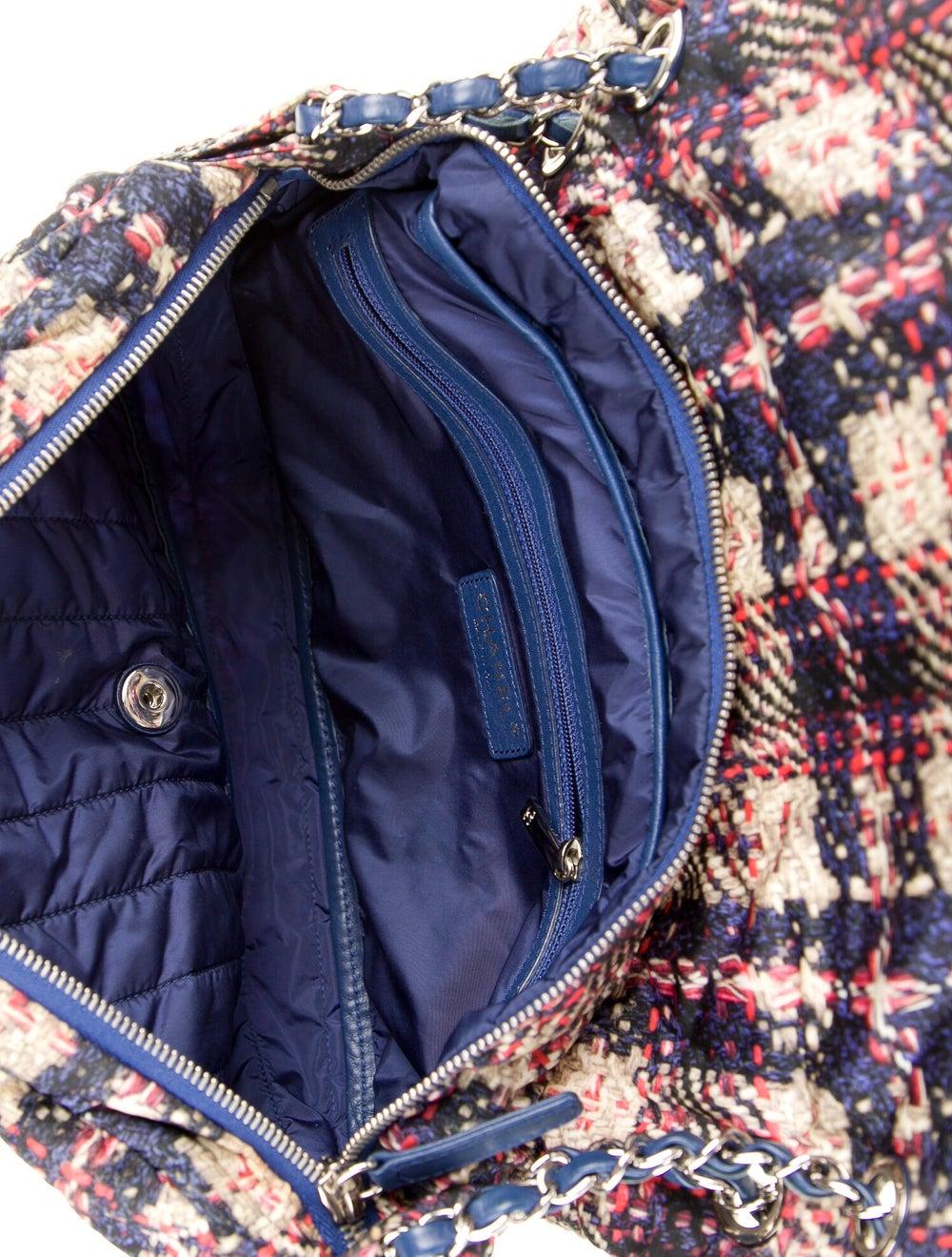 Chanel Medium Nylon Tweed Flap Bag Blue - image 5