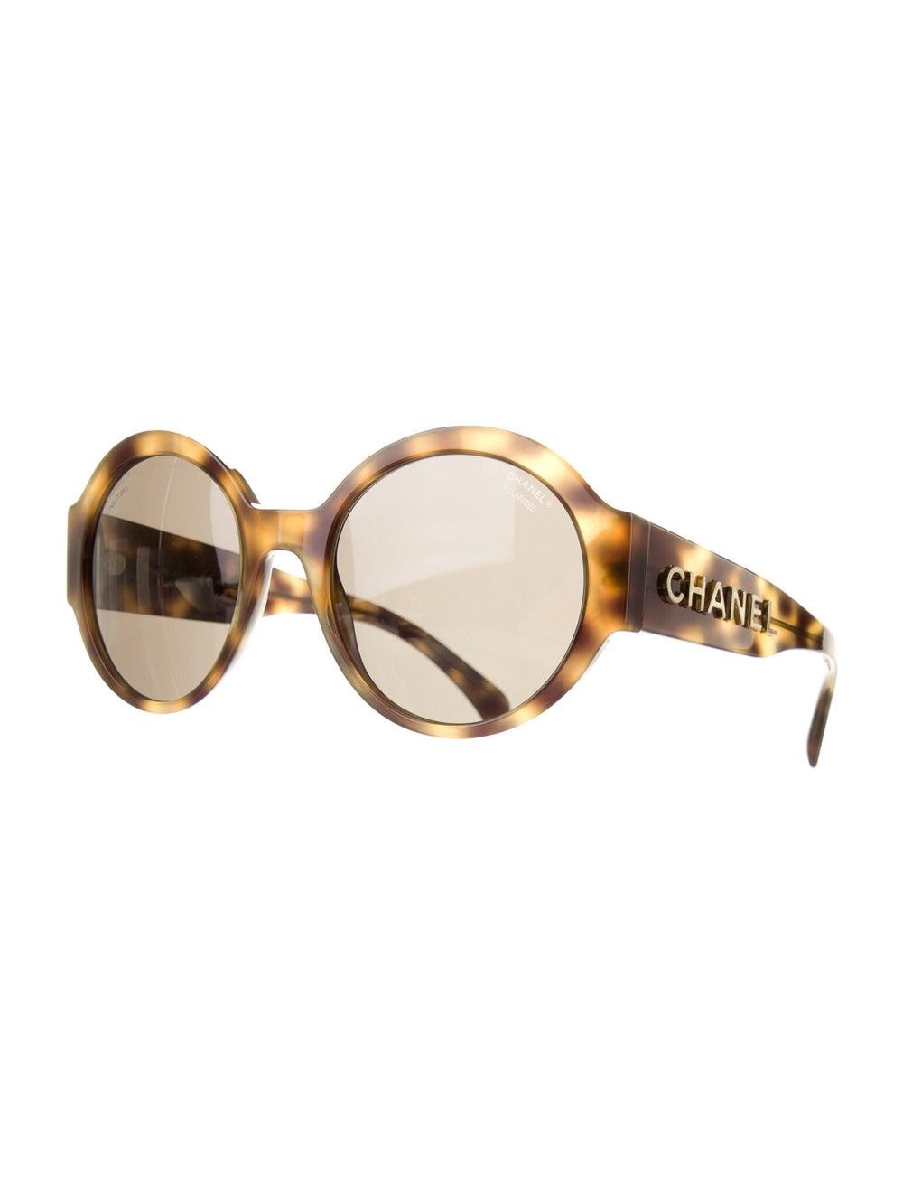 Chanel 2019 Polarized Round Logo Oversize Sunglas… - image 2