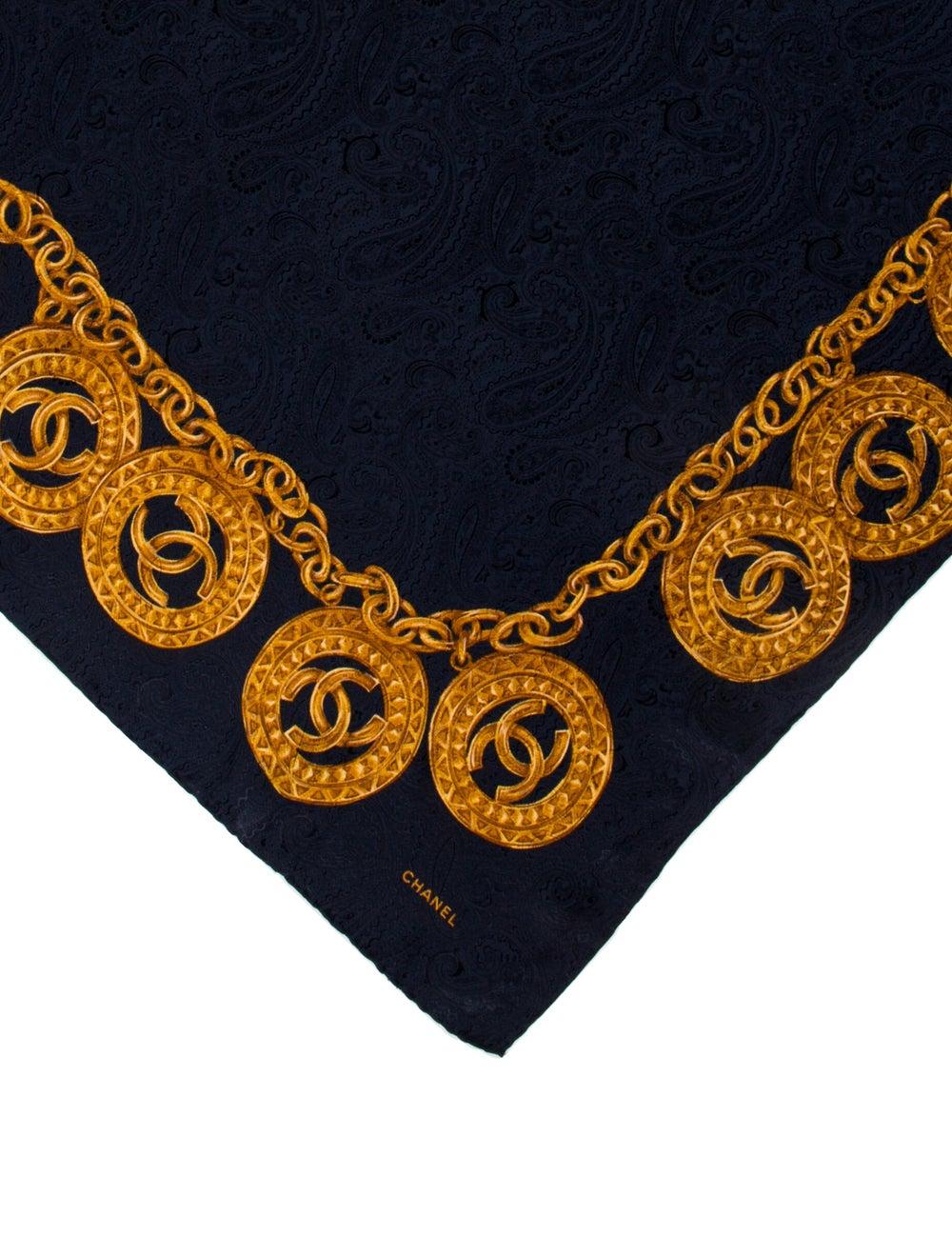 Chanel Silk Vintage Scarf Blue - image 2