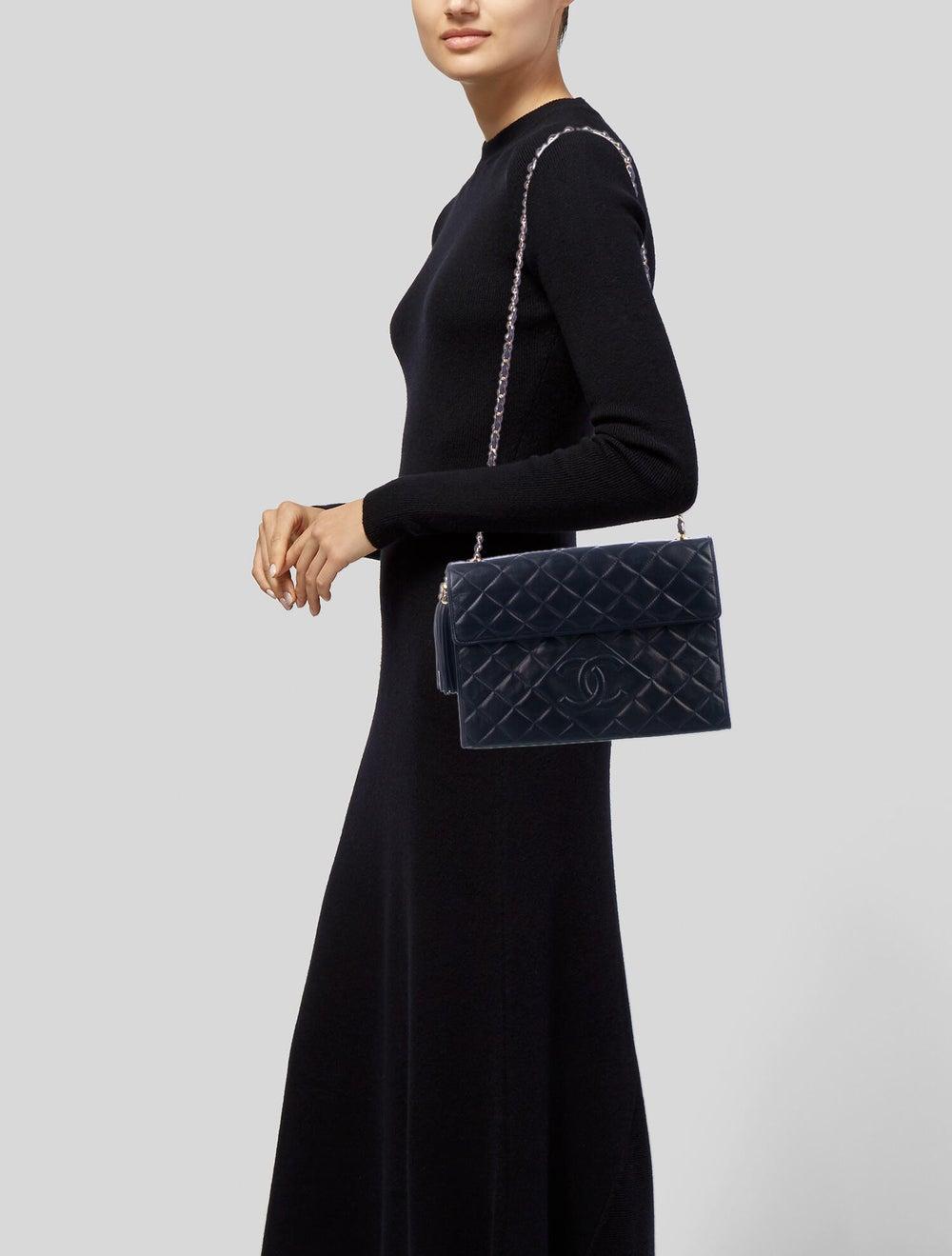 Chanel Vintage Tassel Flap Bag Blue - image 2