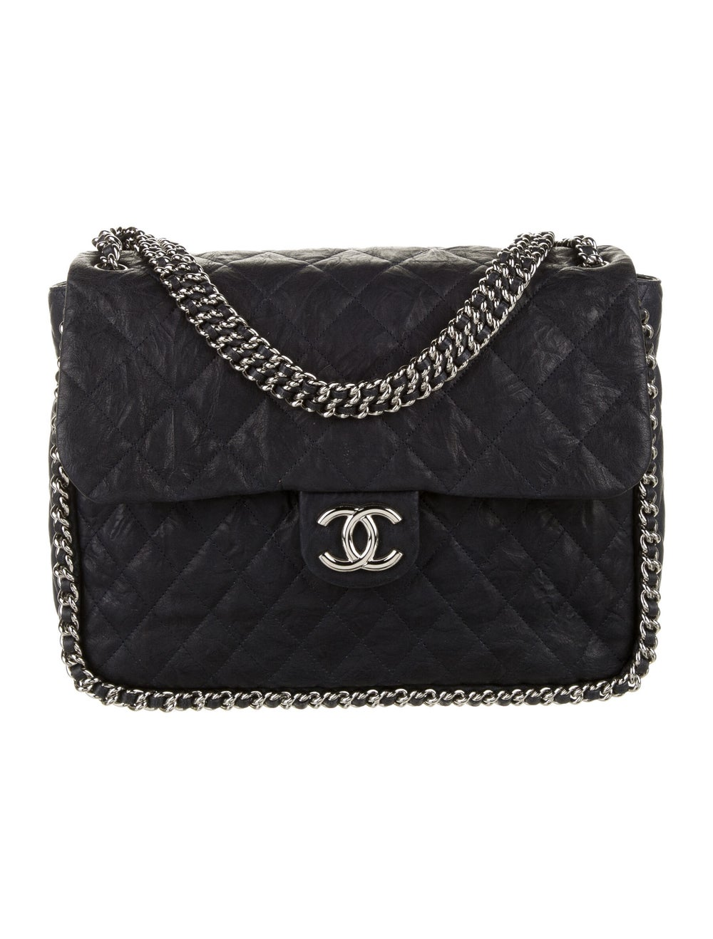 Chanel Chain Around Maxi Flap Bag Blue - image 1